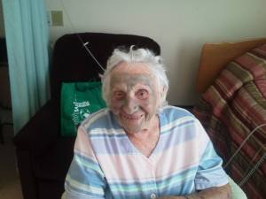 My 96-year old Nana receiving a mud mask last summer. Thank you Arbonne for giving me the time with her.